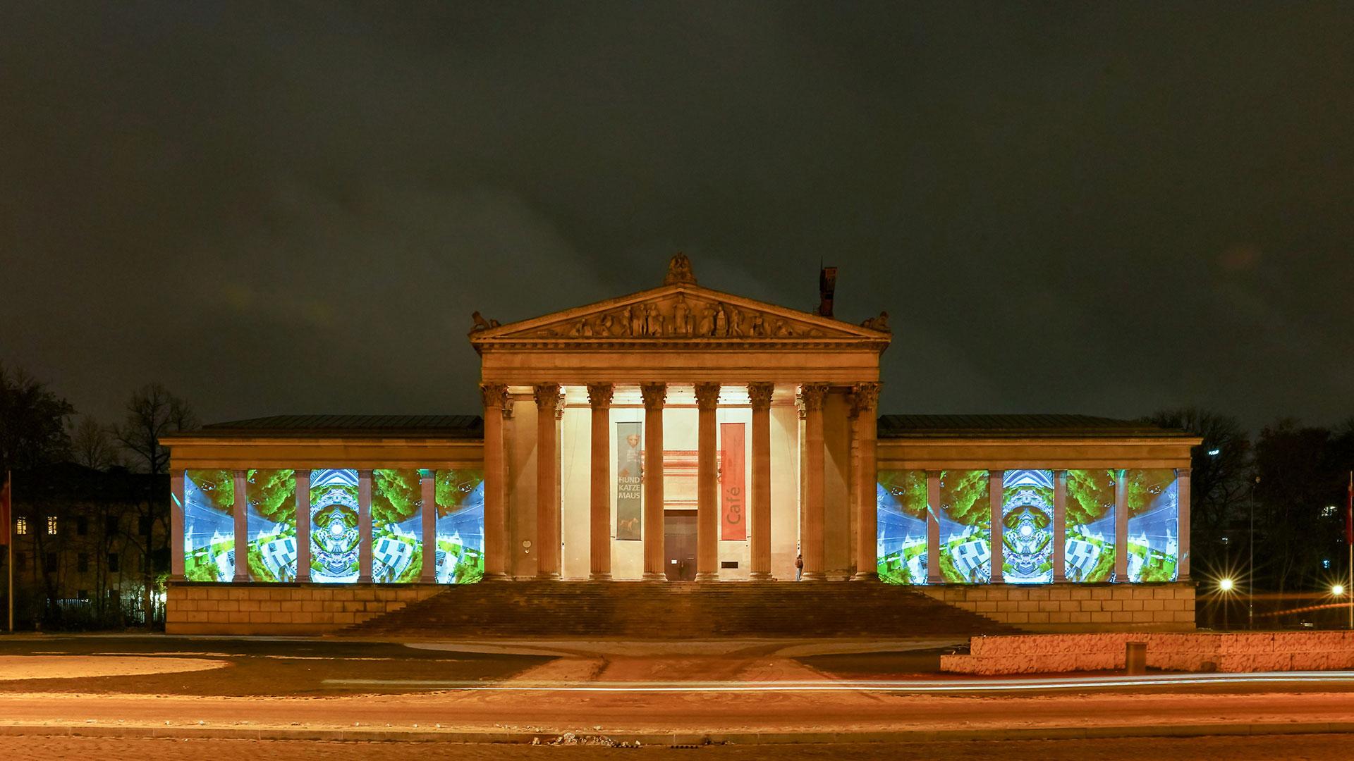 INSIDE OUT Antikensammlung Lichtaktion Kunstareal verbindet